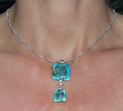2 Square Glass pendants Curly Chain