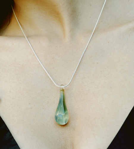 Hand Blown Glass Necklace - Large Irish Raindrop