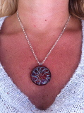 Glass Pendant circle on Snake Chain