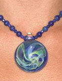 Glass Pendant on Semi Precious Stone String