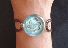 Hand Blown Glass Jewelry Glass Bracelet on Leather