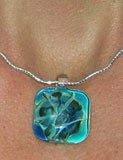 Square Glass pendant on Curly Chain