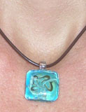 Square Glass Pendant on Leather