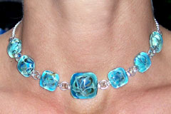 Hand Blown Glass Jewelry - 7 Square glass Necklace