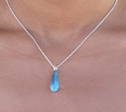 Hand Blown Glass Necklace - Irish Raindrop glass